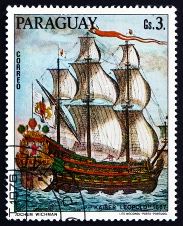 leopold: PARAGUAY - CIRCA 1976: a stamp printed in Paraguay shows Kaiser Leopold, 1667, German Sailing Ship, Painting by Jochem Wichman, circa 1976 Editorial