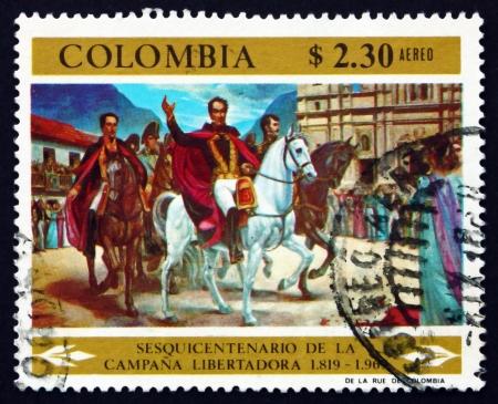 ignacio: COLOMBIA - CIRCA 1969: a stamp printed in the Colombia shows Simon Bolivar and Victorious Army Entering Bogota, Painting by Ignacio Castillo Cervantes, circa 1969 Editorial