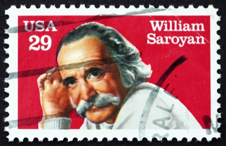 dramatist: UNITED STATES OF AMERICA - CIRCA 1991: a stamp printed in the USA shows William Saroyan, Dramatist and Writer, circa 1991