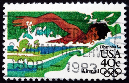 UNITED STATES OF AMERICA - CIRCA 1983: a stamp printed in the USA shows Swimmer, 1984 Summer Olympic Games, Los Angeles, California, circa 1983