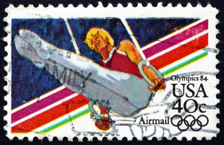 UNITED STATES OF AMERICA - CIRCA 1983: a stamp printed in the USA shows Gymnast, 1984 Summer Olympic Games, Los Angeles, California, circa 1983