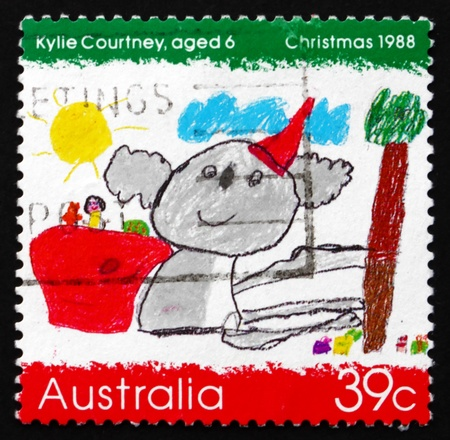AUSTRALIA - CIRCA 1988: a stamp printed in the Australia shows Koala Wearing a Santa Hat, by Kylie Courtney, Children�s Design, Christmas, circa 1988