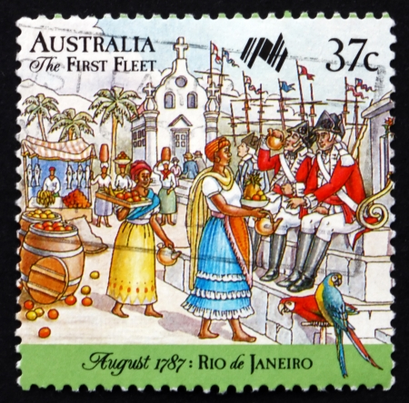 AUSTRALIA - CIRCA 1987: a stamp printed in the Australia shows First Fleet at Rio de Janeiro, Market, Australia Bicentennial, circa 1987