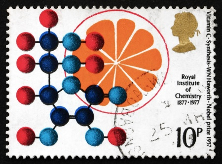 synthesis: GREAT BRITAIN - CIRCA 1969: a stamp printed in the Great Britain shows Vitamin C Synthesis, Formula and Orange, Walter Norman Haworth, 1937 Nobel Prize Winner, circa 1969 Editorial