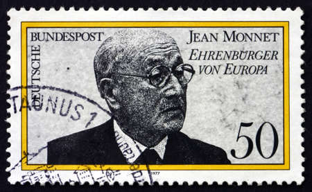 political economist: GERMANY - CIRCA 1977: a stamp printed in the Germany shows Jean Monnet, French Proponent of Unification of Europe, First Honorary Citizen of Europe, circa 1977
