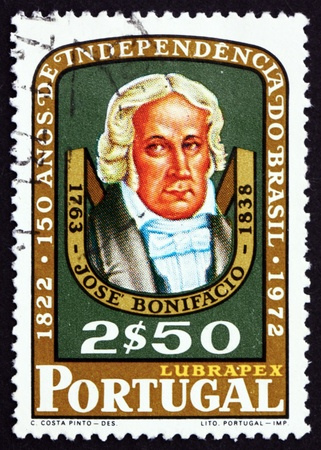 PORTUGAL - CIRCA 1972: a stamp printed in the Portugal shows Jose Bonifacio de Andrada, Brazilian Statesman, 150th Anniversary of Brazilian Independence, circa 1972 Stock Photo - 18402620