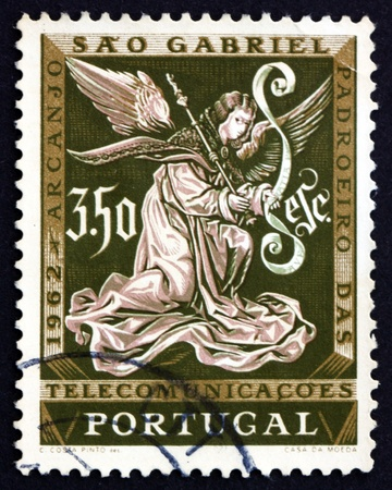 patron: PORTUGAL - CIRCA 1962: a stamp printed in the Portugal shows Archangel Gabriel, Messenger, St. Gabriel�s Day, Patron of Telecommunications, circa 1962