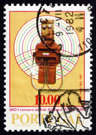 PORTUGAL - CIRCA 1982: a stamp printed in the Portugal shows Phone, 1882, Telephone Centenary, circa 1982