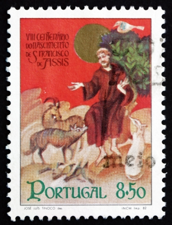 st  francis: PORTUGAL - CIRCA 1982: a stamp printed in the Portugal shows St. Francis of Assisi with Animals, Clay Creche, 800th Birth Anniversary, circa 1982