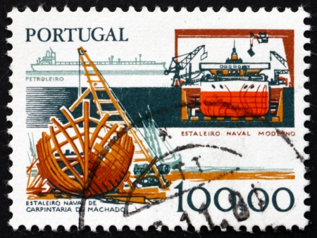 commemorate: PORTUGAL - CIRCA 1978: a stamp printed in the Portugal shows Shipbuilding Industry, Work Tools, Old and New, circa 1978