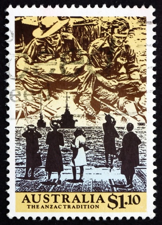 commemorate: AUSTRALIA - CIRCA 1990: a stamp printed in the Australia shows Anzacs Reading Mail from Home, 5 women Watching Departure of 2 Ships, Scene from WWII, circa 1990