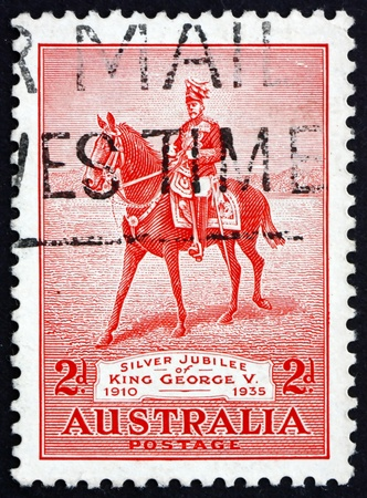 reign: AUSTRALIA - CIRCA 1935: a stamp printed in the Australia shows King George V on his Charger Anzac, 25th Anniversary of the Reign of King George V, circa 1935 Editorial