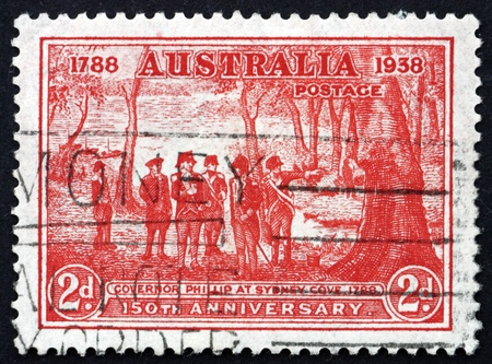 AUSTRALIA - CIRCA 1937: a stamp printed in the Australia shows Governor Arthur Phillip at Sydney Cove, 150th Anniversary of New South Wales, circa 1937