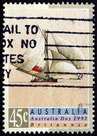 britannia: AUSTRALIA - CIRCA 1992: a stamp printed in the Australia shows Britannia, Sailing Ship, Australia Day, circa 1992