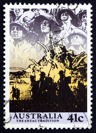 commemorate: AUSTRALIA - CIRCA 1990: a stamp printed in the Australia shows Anzacs at the Front, Scene from WWII, circa 1990