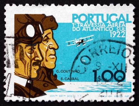 PORTUGAL - CIRCA 1972: a stamp printed in the Portugal shows Sacadura Cabral, Gago Coutinho and Plane, 50th Anniversary of the Lisbon to Rio Flight, circa 1972