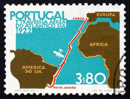 PORTUGAL - CIRCA 1972: a stamp printed in the Portugal shows Map of Flight from Lisbon to Rio, 50th Anniversary of the Lisbon to Rio Flight, circa 1972