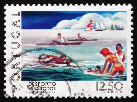 watersport: PORTUGAL - CIRCA 1978: a stamp printed in the Portugal shows Watersport, Sport for all the People, circa 1978