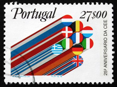 eec: PORTUGAL - CIRCA 1982: a stamp printed in the Portugal shows Flags, 25th Anniversary of European Economic Community, EEC, circa 1982