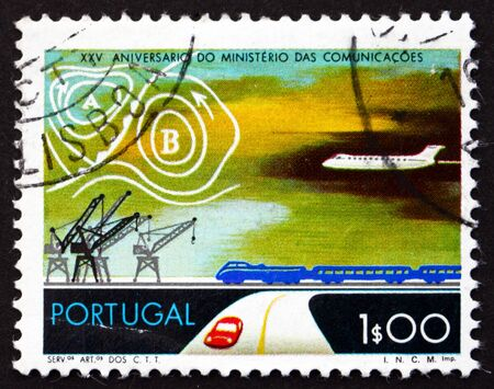 PORTUGAL - CIRCA 1973: a stamp printed in the Portugal shows Transportation, Weather Map, 25th Anniversary of Ministry of Communications, circa 1973