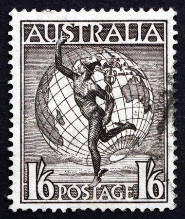 messengers of god: AUSTRALIA - CIRCA 1949: a stamp printed in the Australia shows Mercury and Globe, circa 1949