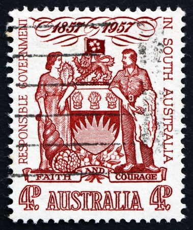 centenary: AUSTRALIA - CIRCA 1957: a stamp printed in the Australia shows South Australia Coat of Arms, Centenary of Responsible Government in South Australia, circa 1957