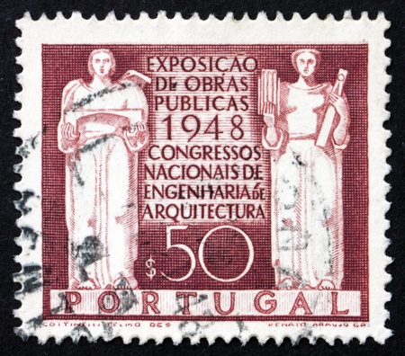 public works: PORTUGAL - CIRCA 1948: a stamp printed in the Portugal shows Architecture and Engineering, Exposition of Public Works and National Congress of Engineering and Architecture, circa 1948 Editorial