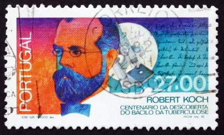 discoverer: PORTUGAL - CIRCA 1987: un sello impreso en la muestra Portugal Robert Koch, descubridor del bacilo de la tuberculosis, circa 1987