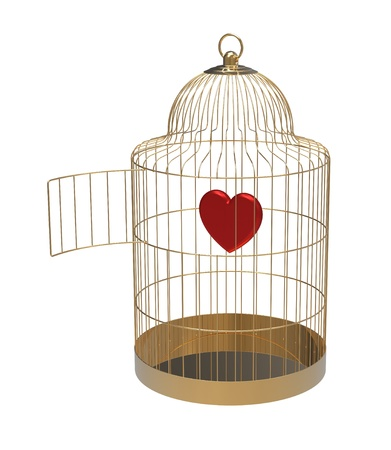Bird cage with heart, isolated on white, 3d render photo