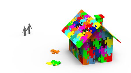 House built out of colorful puzzle pieces, 3d render photo