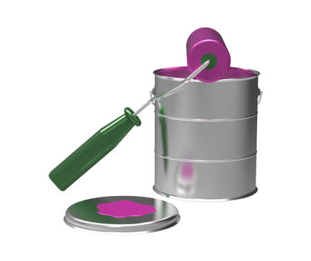 Pink paint, roller and can, 3d render, isolated on white photo