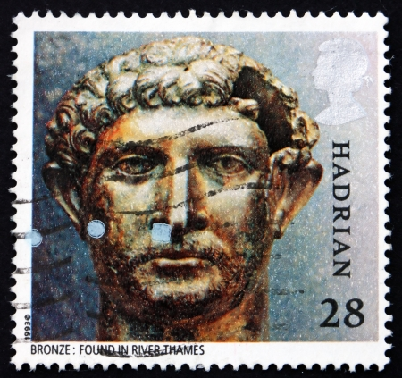 artifact: GREAT BRITAIN - CIRCA 1993: a stamp printed in the Great Britain shows Bronze bust of Hadrian, Roman Artifact, circa 1993