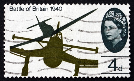 GREAT BRITAIN - CIRCA 1965: a stamp printed in the Great Britain shows Wing tips of Messerschmitt ME-109 and Spitfire, 25th anniversary of the Battle of Britain, circa 1965