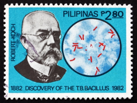 discoverer: FILIPINAS - CIRCA 1982: un sello impreso en Filipinas muestra Robert Koch, descubridor del bacilo de la tuberculosis, alrededor de 1982 Editorial