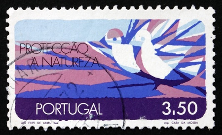 PORTUGAL - CIRCA 1971: a stamp printed in the Portugal shows Nature Conservation, Air, circa 1971