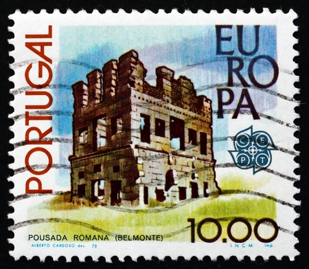 belmonte: PORTUGAL - CIRCA 1978: a stamp printed in the Portugal shows Roman Tower, Belmonte, circa 1978 Editorial
