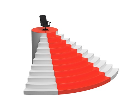 Armchair on the top of the stairs, symbol of success, 3d render, illustration illustration