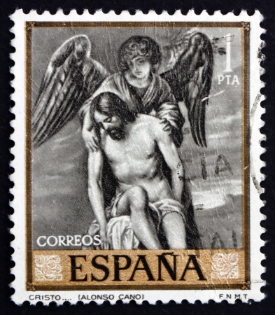 SPAIN - CIRCA 1969: a stamp printed in the Spain shows Jesus and Angel, Painting by Alonso Cano, circa 1969 Stock Photo - 18883935