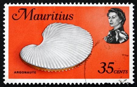 argonaut: MAURITIUS - CIRCA 1969: a stamp printed in the Mauritius shows Argonaut Shell, Argonauta, Octopus, circa 1969 Editorial