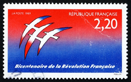 FRANCE - CIRCA 1989: a stamp printed in the France shows French Revolution, Bicentennial, circa 1989