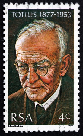 theologian: SOUTH AFRICA - CIRCA 1977: a stamp printed in South Africa shows Dr. Jacob Daniel du Toit, Totius,  Theologian, Educator and Poet, circa 1977 Editorial