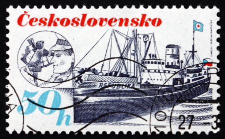 republika: CZECHOSLOVAKIA - CIRCA 1989: a stamp printed in the Czechoslovakia shows Ship Republika, Shipping Industry, circa 1989 Editorial