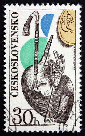 aerophone: CZECHOSLOVAKIA - CIRCA 1974: a stamp printed in the Czechoslovakia shows Bagpipe, Musical Instrument, circa 1974