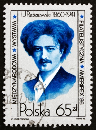POLAND - CIRCA 1984: a stamp printed in the Poland shows Ignacy Jan Paderewski, Polish Pianist, composer and Politician, spokesman for Polish Nationalism, circa 1984 Stock Photo - 19108144