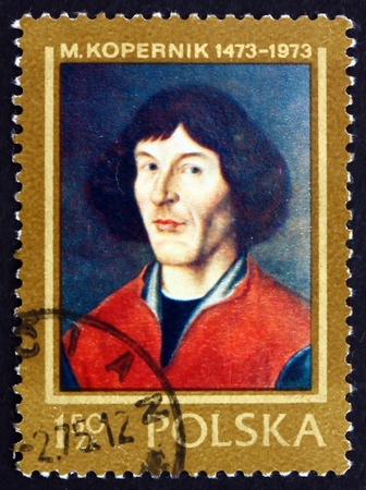 copernicus: POLAND - CIRCA 1973: a stamp printed in the Poland shows Nicolaus Copernicus, Mathematician, Astronomer, Portrait Painted in Torun, 16th Century, circa 1973