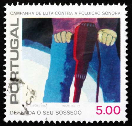 noise pollution: PORTUGAL - CIRCA 1979: a stamp printed in the Portugal shows Pneumatic Drill, Combat Noise Pollution, circa 1979