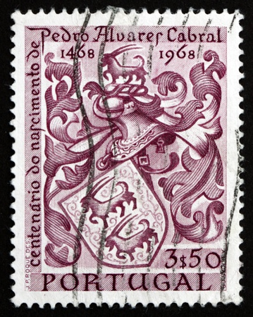 discoverer: PORTUGAL - CIRCA 1969: a stamp printed in the Portugal shows Cabral's Coat of Arms, Pedro Alvares Cabral, Navigator, Discoverer of Brazil, circa 1969