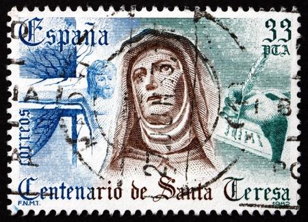 carmelite nun: SPAIN - CIRCA 1982: a stamp printed in the Spain shows St. Teresa of Avila, Statue by Gregorio Hernandez, circa 1982