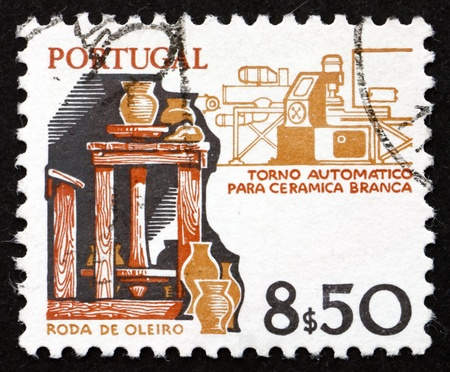 potters wheel: PORTUGAL - CIRCA 1978: a stamp printed in the Portugal shows Potter�s Wheel and Modern Machine for the Production of Ceramics, Old and New, circa 1978