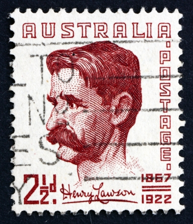 lawson: AUSTRALIA - CIRCA 1949: a stamp printed in the Australia shows Henry Hertzberg Lawson, Author and Poet, circa 1949